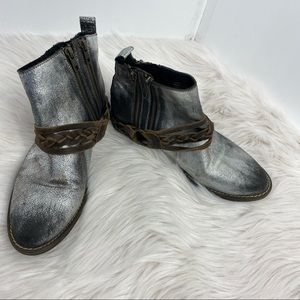Very Volatile Pewter Leather Ankle Boots